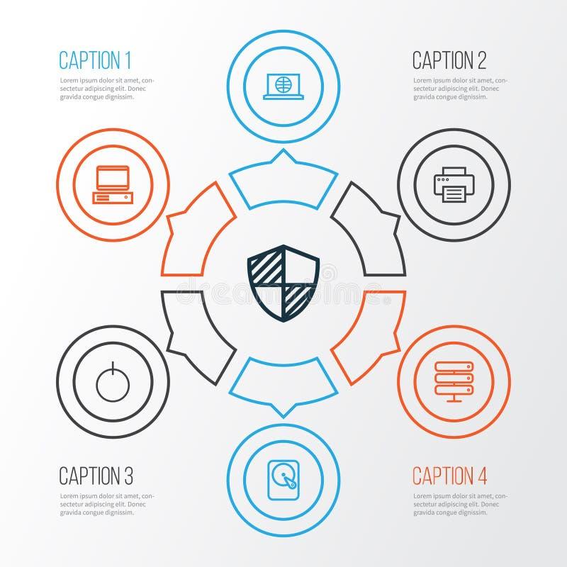Iconos del esquema del hardware fijados La colección de protege, web, impresora And Other Elements También incluye símbolos tal c ilustración del vector