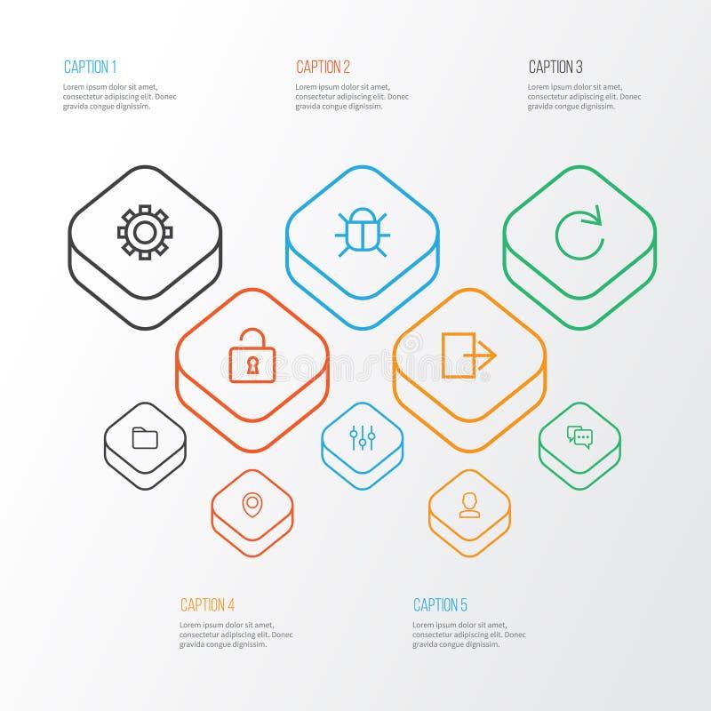 Iconos del esquema del interfaz fijados Colección de estabilizador libre illustration