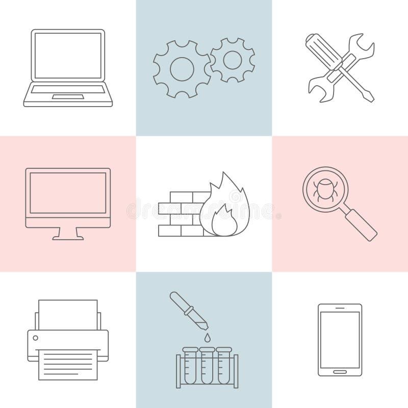 Iconos del esquema del servicio informático ilustración del vector