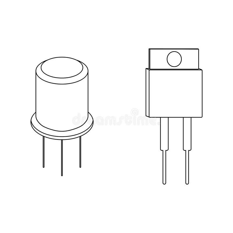 Iconos del esquema del transistor Ilustración del vector stock de ilustración
