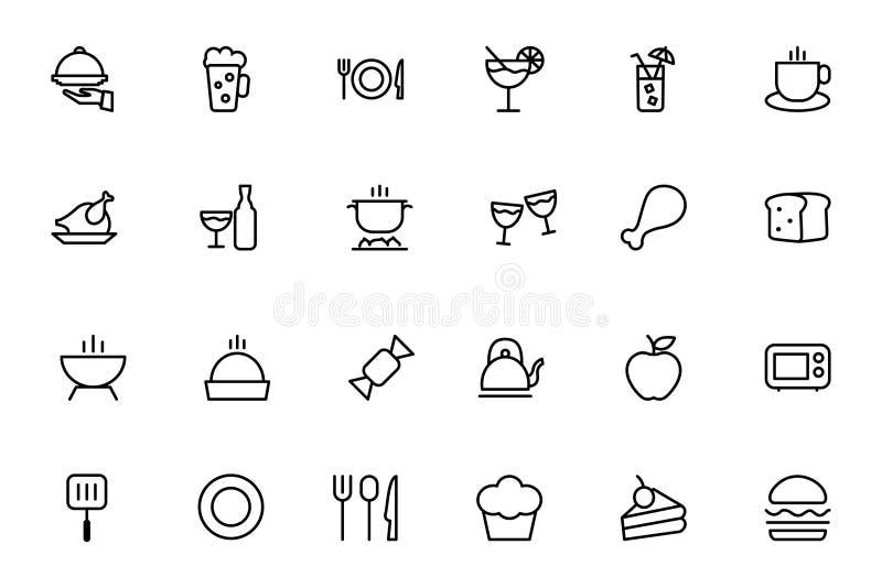 Iconos 1 del esquema del vector de la comida libre illustration