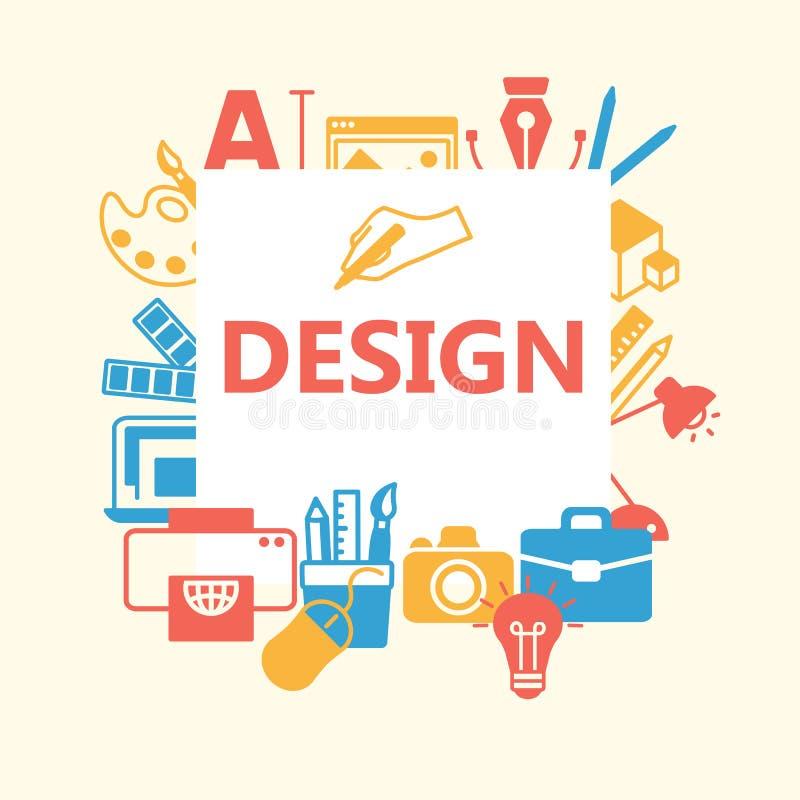 Iconos del esquema del diseño fijados stock de ilustración