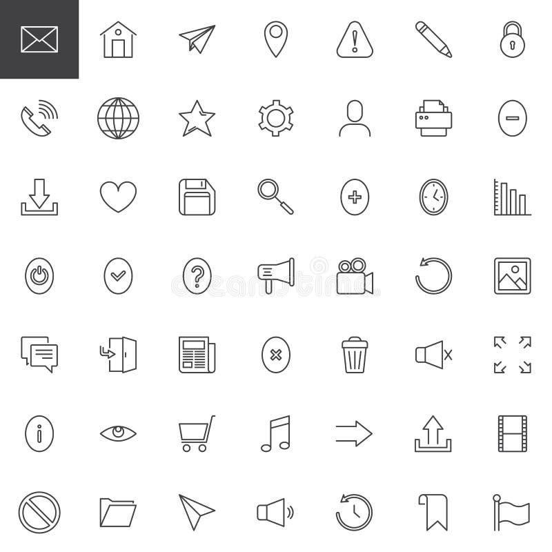 Iconos del esquema del esencial del web fijados stock de ilustración