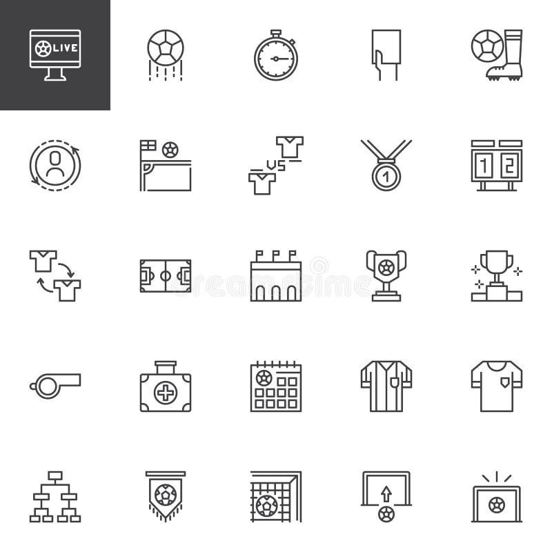 Iconos del esquema del fútbol fijados libre illustration