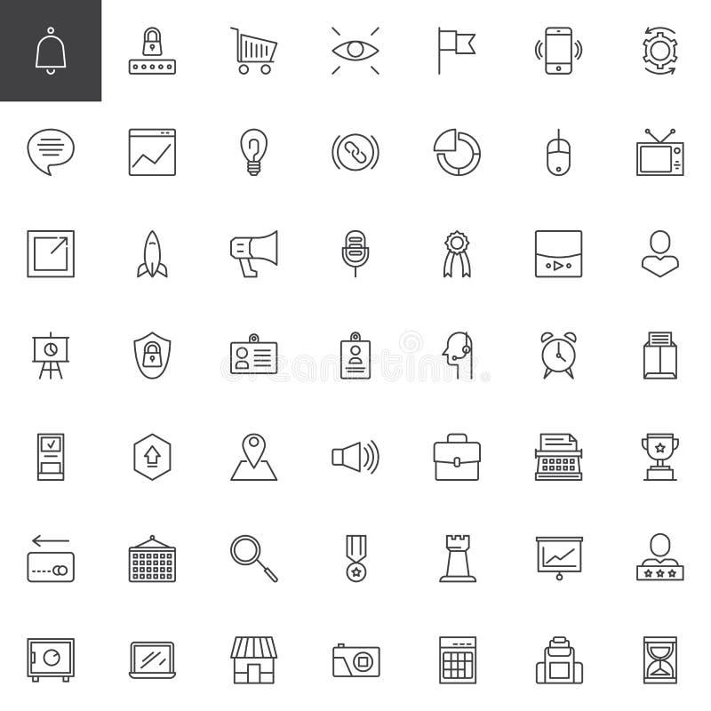 Iconos del esquema del márketing de Digitaces fijados libre illustration