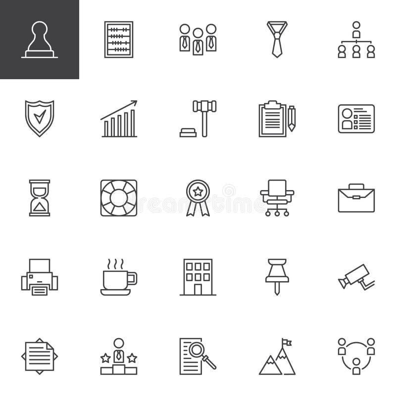 Iconos del esquema del negocio fijados ilustración del vector