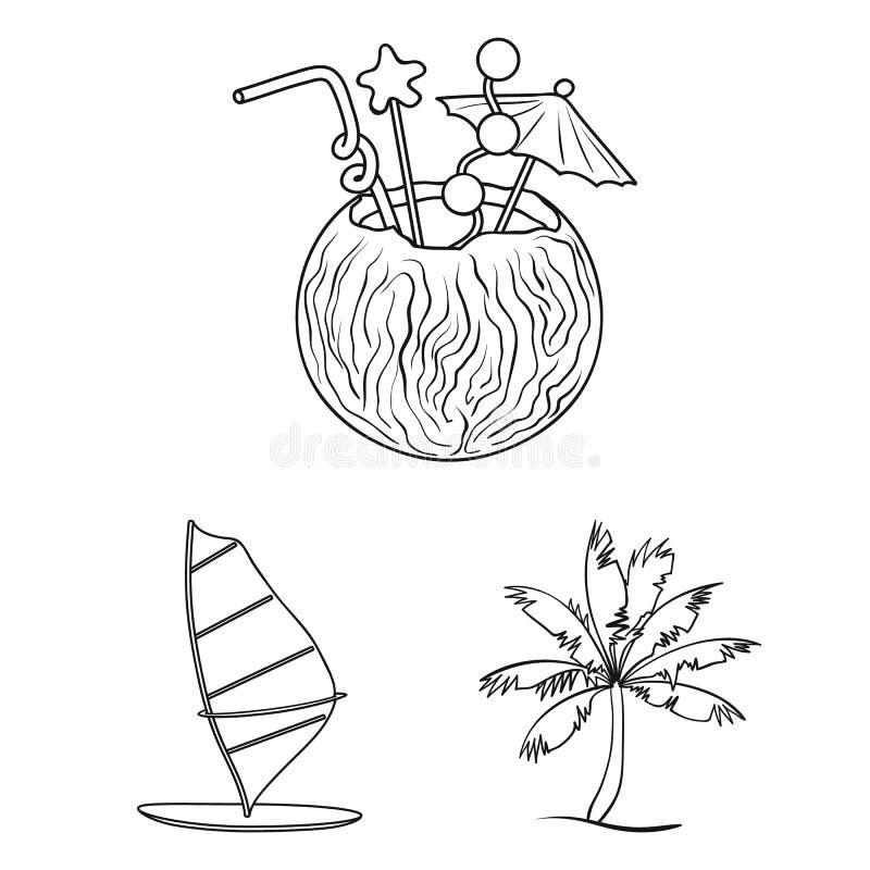 Iconos del esquema que practican surf y extremos en la colección del sistema para el diseño Web de la acción del símbolo del vect ilustración del vector