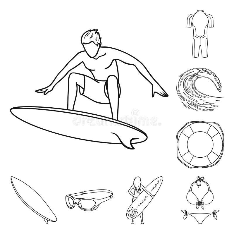 Iconos del esquema que practican surf y extremos en la colección del sistema para el diseño Web de la acción del símbolo del vect libre illustration