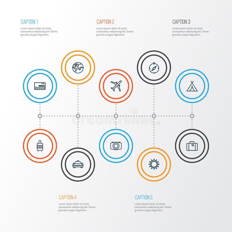 Iconos del esquema que viajan fijados Colección de crédito, de avión, de flechas y de otros elementos También incluye símbolos ta ilustración del vector