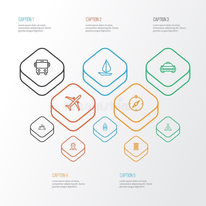 Iconos del esquema que viajan fijados Colección de Pin del mapa, de edificio, de colina y de otros elementos También incluye símb libre illustration