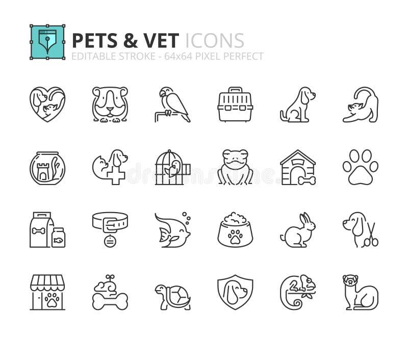 Iconos del esquema sobre animales domésticos y veterinario ilustración del vector
