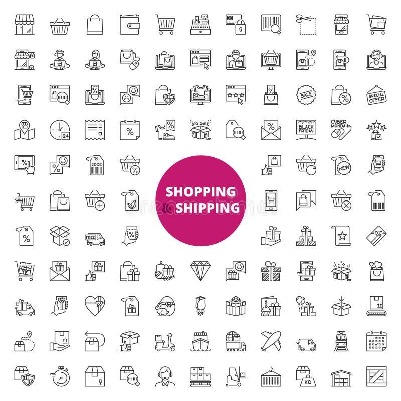 Iconos del esquema sobre compras y el envío libre illustration
