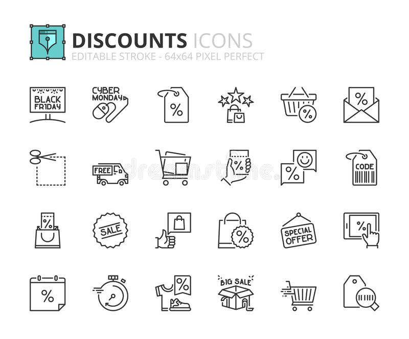 Iconos del esquema sobre descuentos stock de ilustración