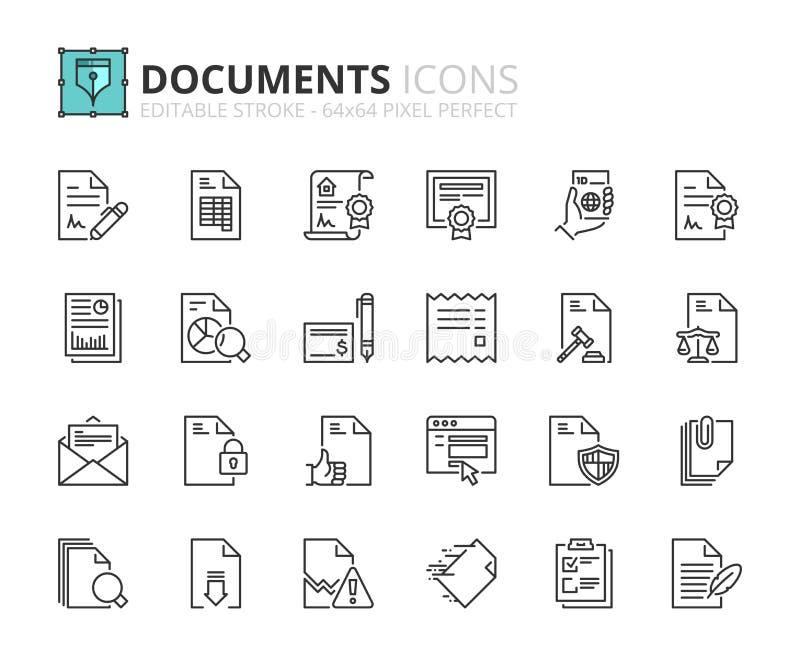 Iconos del esquema sobre documentos ilustración del vector