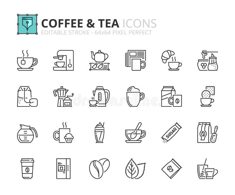 Iconos del esquema sobre el café y el té ilustración del vector