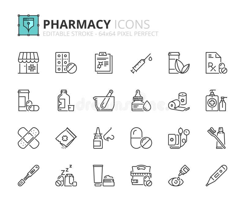 Iconos del esquema sobre farmacia stock de ilustración