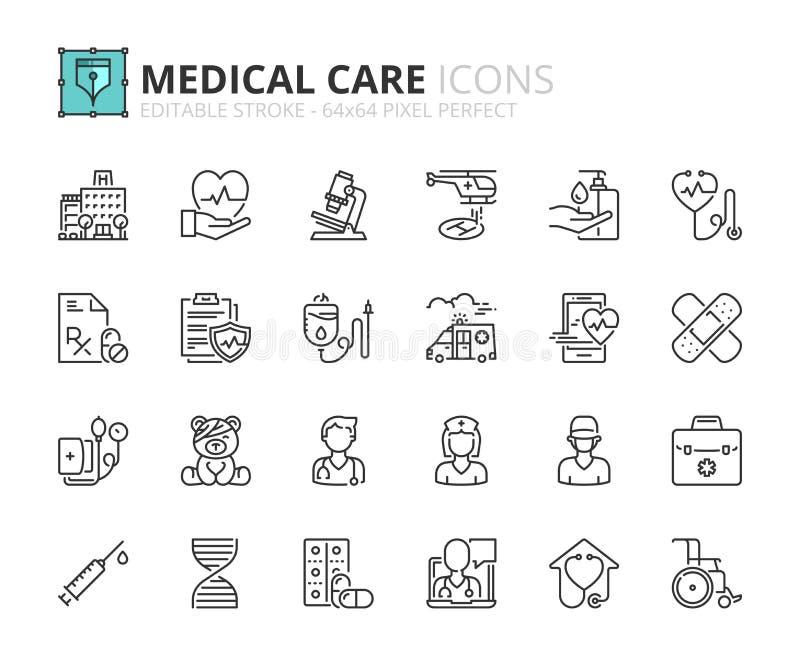 Iconos del esquema sobre hospital y asistencia médica libre illustration