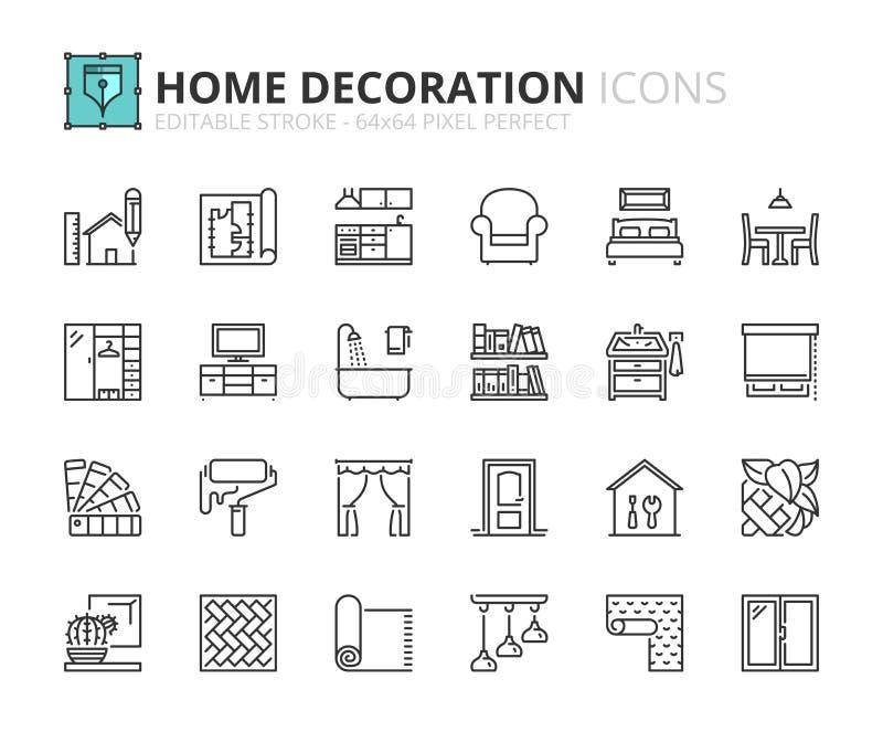 Iconos del esquema sobre la decoración casera ilustración del vector