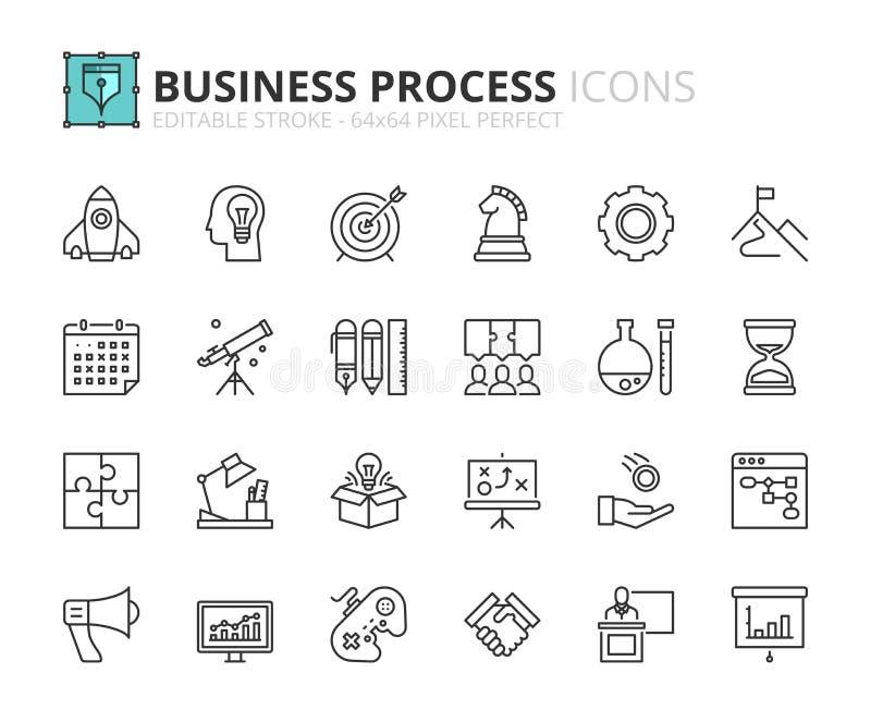 Iconos del esquema sobre proceso de negocio ilustración del vector
