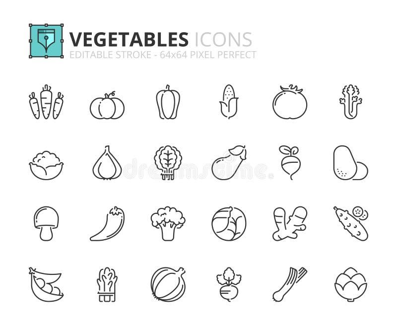 Iconos del esquema sobre verduras ilustración del vector