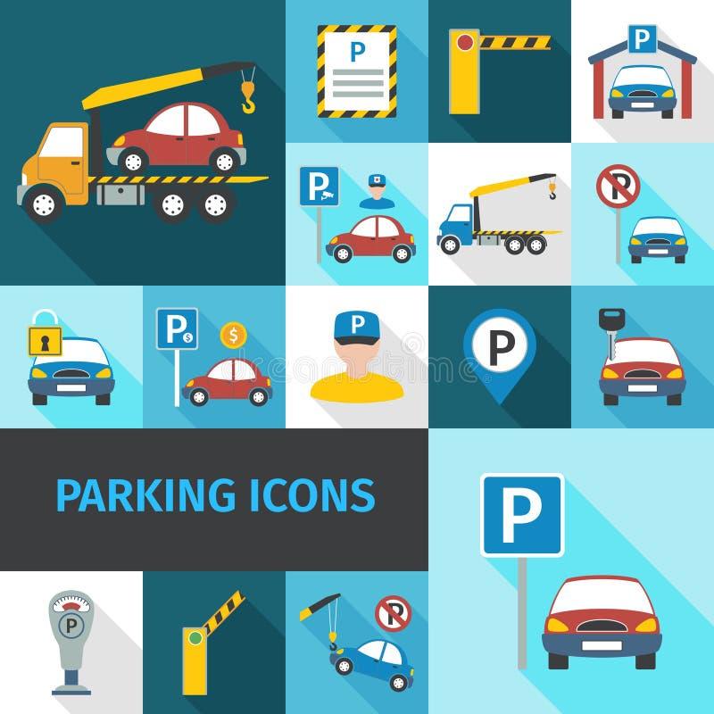 Iconos del estacionamiento planos stock de ilustración