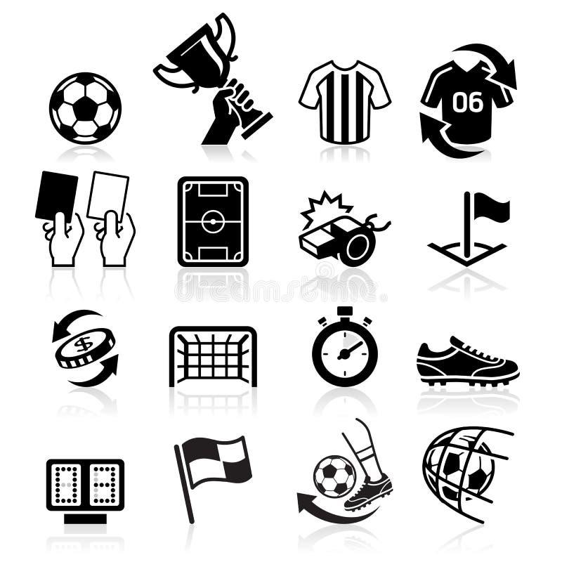 Iconos del fútbol ilustración del vector