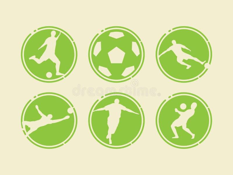 Iconos del fútbol/del fútbol con la silueta del jugador Diseño plano del deporte del estilo ilustración del vector