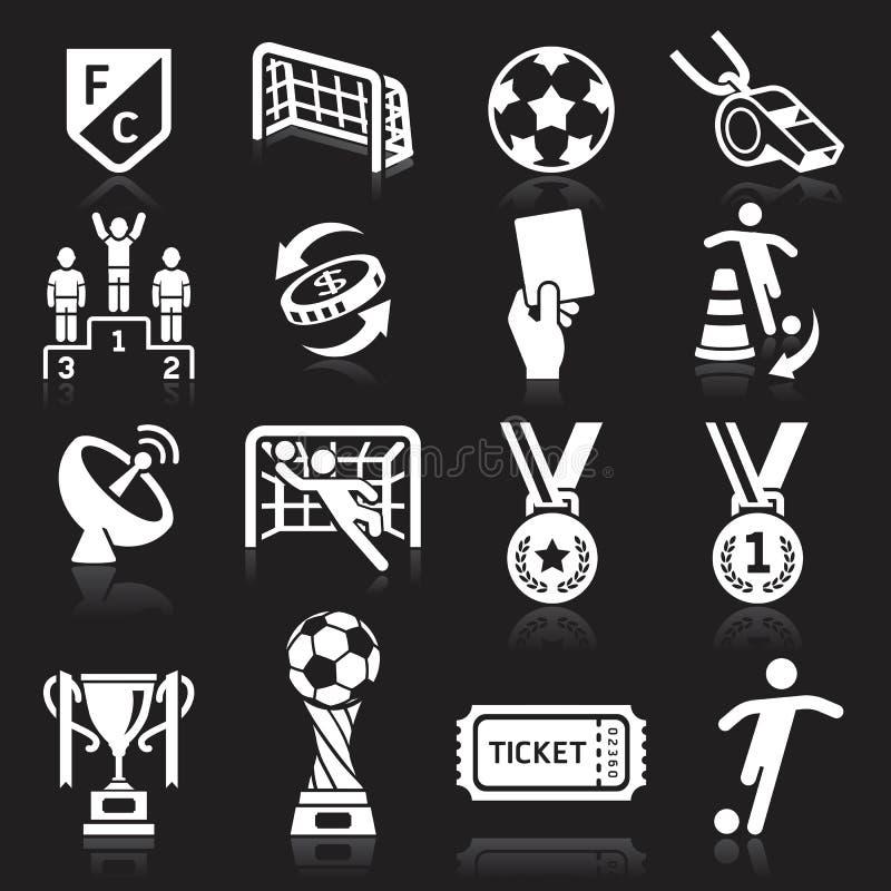 Iconos del fútbol en fondo negro libre illustration