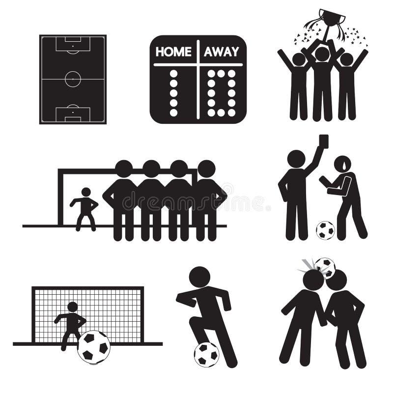 Iconos del fútbol o del fútbol ilustración del vector