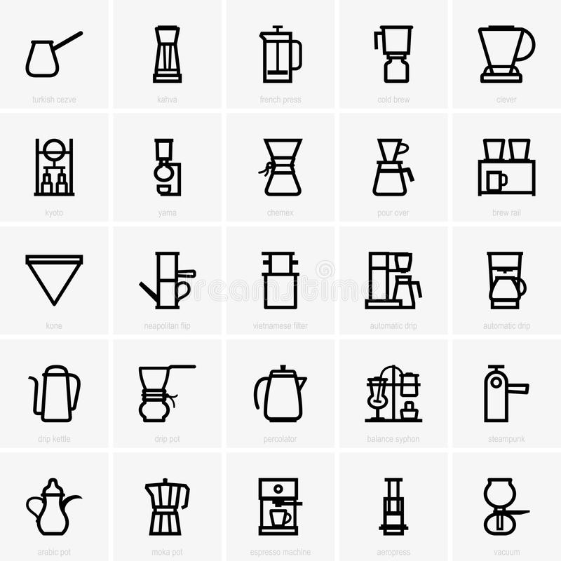 Iconos del fabricante de café ilustración del vector