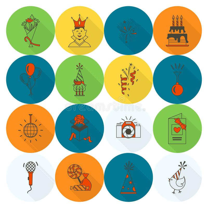 Iconos del feliz cumpleaños fijados stock de ilustración
