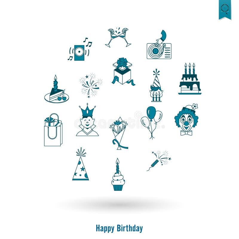 Iconos del feliz cumpleaños fijados libre illustration