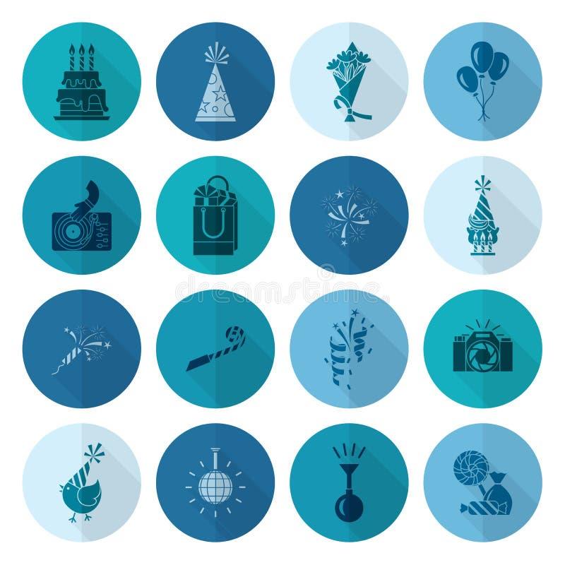 Iconos del feliz cumpleaños fijados ilustración del vector