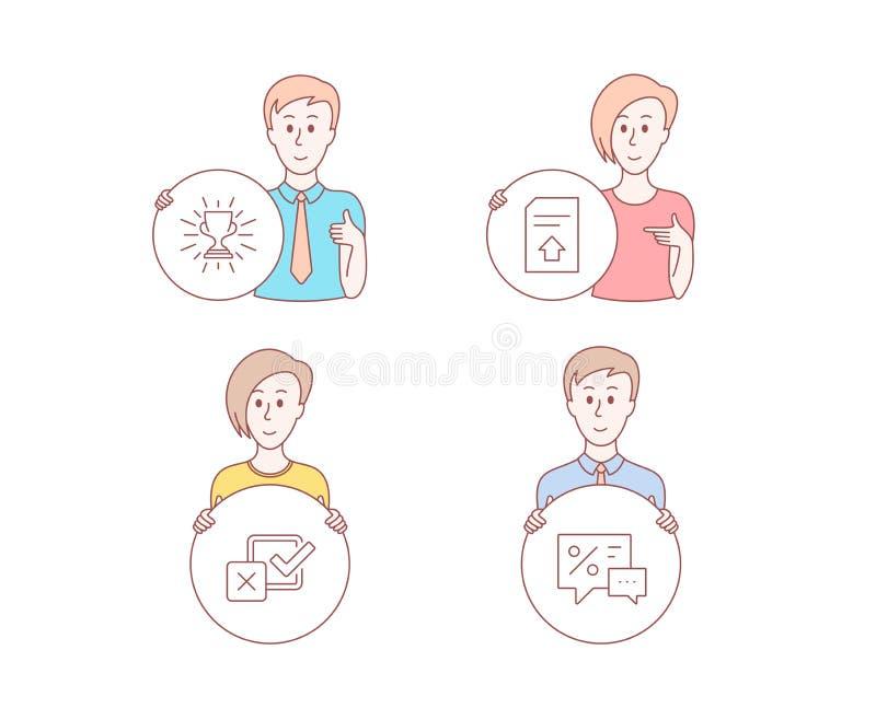 Iconos del fichero del Checkbox, del trofeo y de la carga por teletratamiento Muestra de los descuentos Opción de la encuesta, ta ilustración del vector