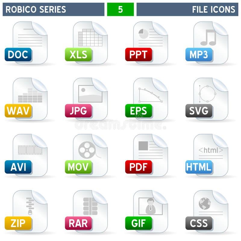 Iconos del fichero - serie de Robico ilustración del vector