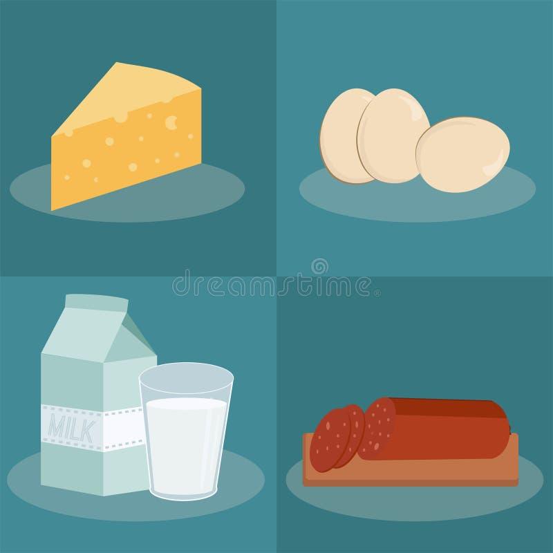 Iconos del flek del vector con la comida libre illustration