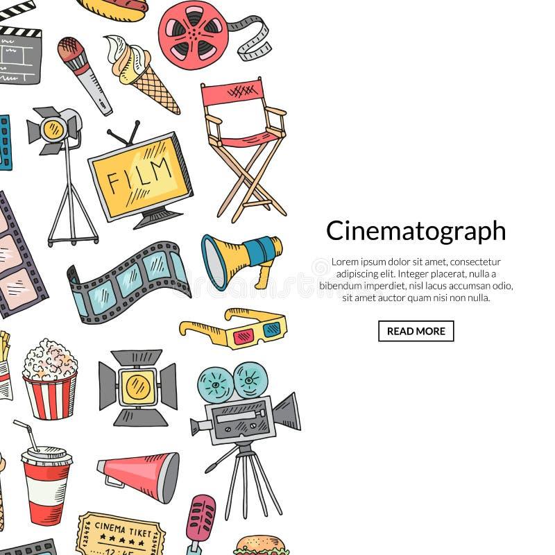 Iconos del garabato del cine del vector libre illustration