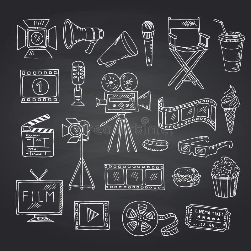 Iconos del garabato del cine del vector en el ejemplo negro de la pizarra libre illustration