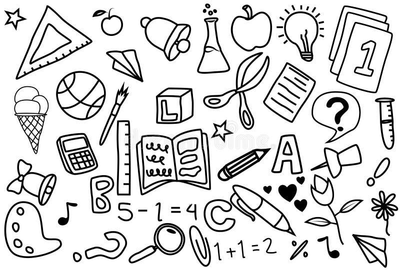 Iconos del garabato del día escolar hechos a mano stock de ilustración