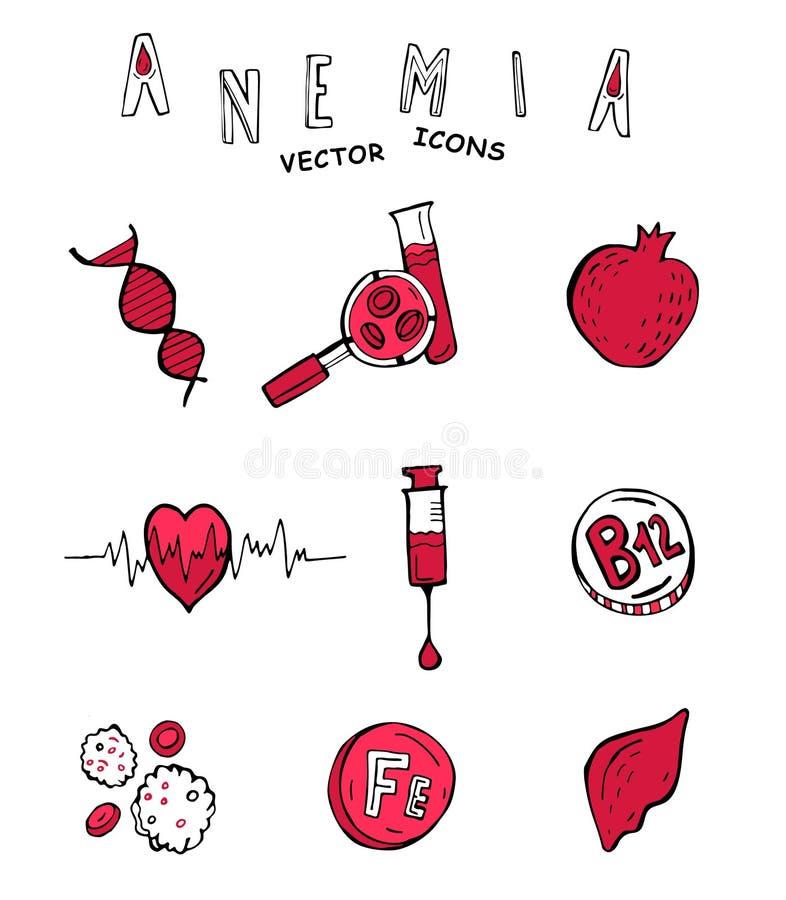 Iconos del garabato de la anemia ilustración del vector