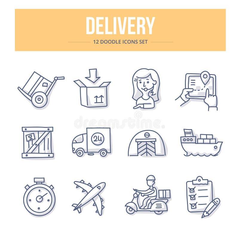Iconos del garabato de la entrega stock de ilustración