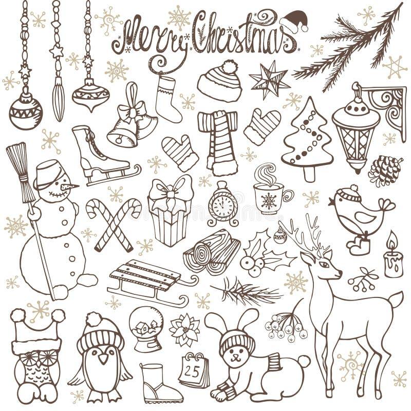 Iconos del garabato de la estación de la Navidad, animales retro ilustración del vector
