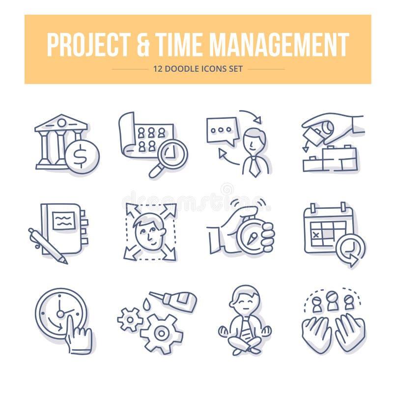 Iconos del garabato de la gestión del proyecto y de tiempo
