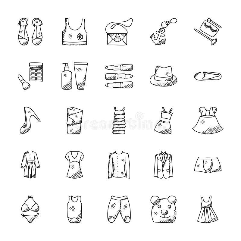 Iconos del garabato de la moda fijados libre illustration