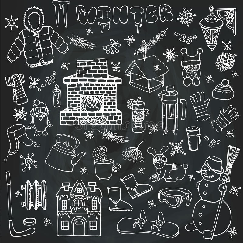 Iconos del garabato de Winteer, sistema de elementos linear pizarra ilustración del vector