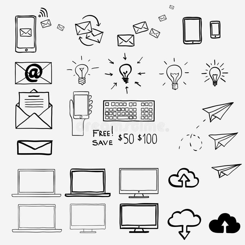 Iconos del garabato del drenaje de la mano Internet del concepto, trabajo, stock de ilustración