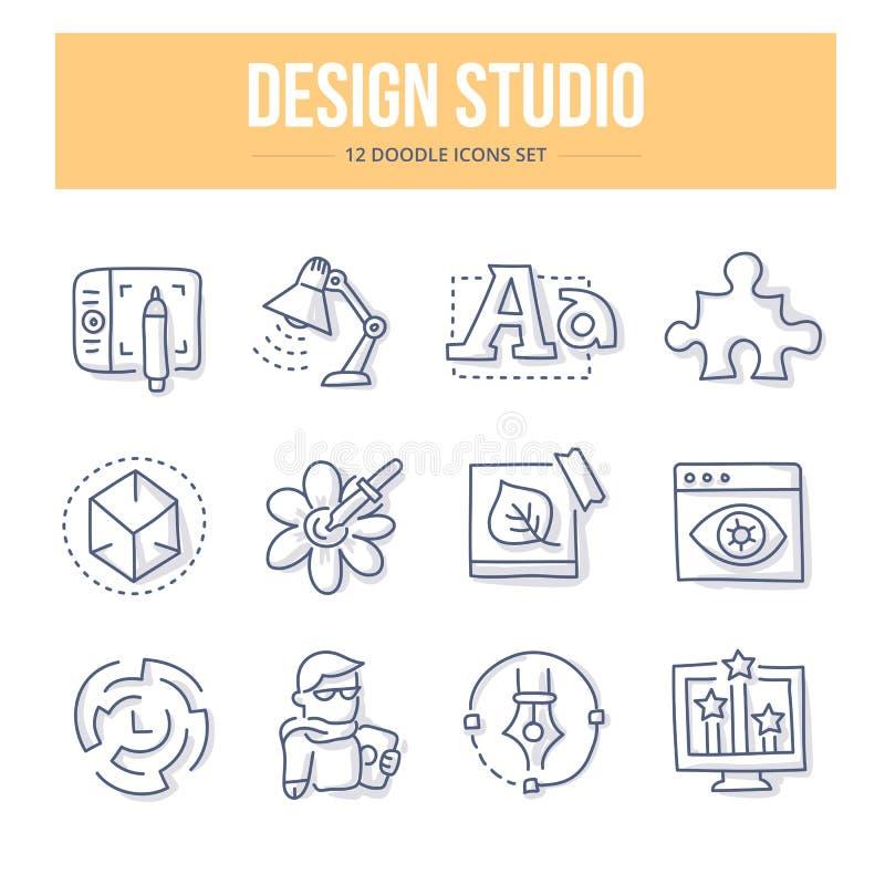 Iconos del garabato del estudio del diseño ilustración del vector