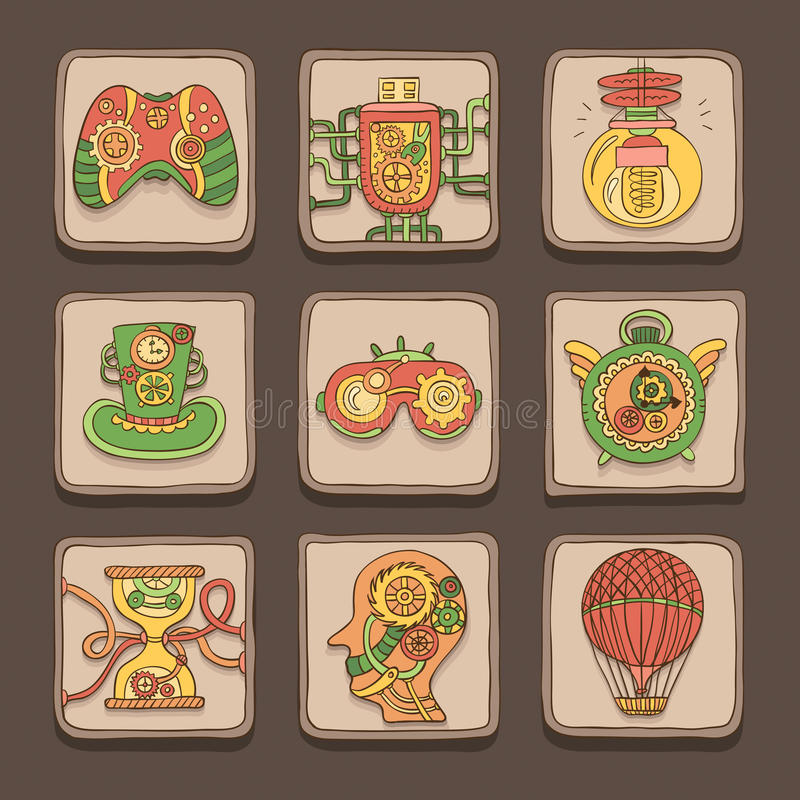 Iconos del garabato Tema de Steampunk libre illustration