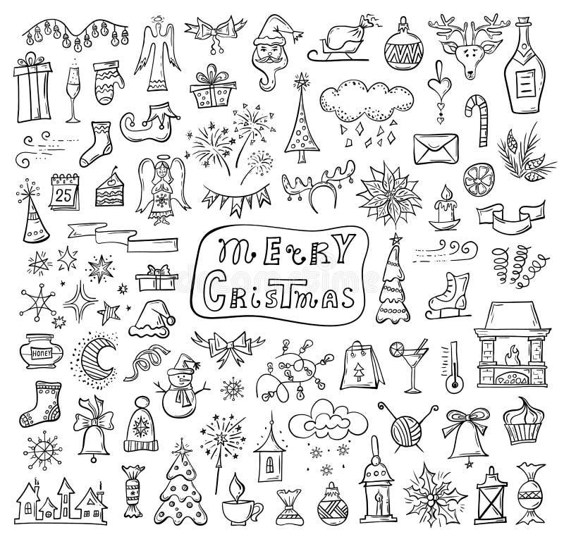 Iconos del garabato del vector en el tema de la Navidad libre illustration