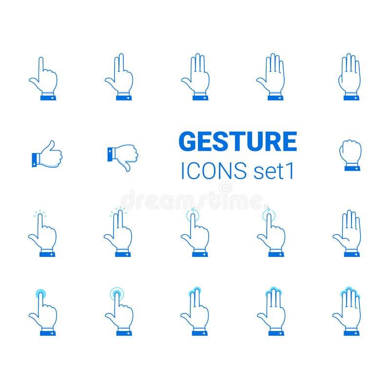 Iconos del gesto fijados ilustración del vector